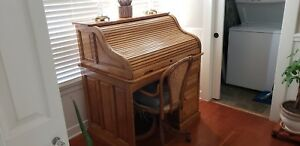 Circa 1900 Antique Oak S Curve 42 Roll Top Desk Chair Check Uship For Delivery