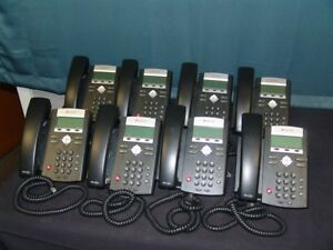 Lot Of 8 Polycom Soundpoint Ip 335 Poe Phones With Hd Voice Handsets And Stands