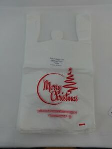 Merry Christmas 1 6 Plastic T shirt Bags Handle 11 25 X 6 X 21 Red Tree