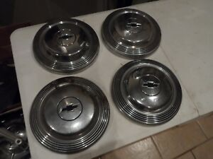 Chevy 1950s 50s Dog Dish 10 Black Bowtie Hub Cap Set Of 4 Vintage Hot Rod Gm