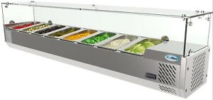 Countertop Condiment Refrigerated Prep Station With Glass Sneeze Guard 71 8 Pan