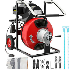 Commercial Drain Cleaner 75 X 3 8 Drain Cleaning Machine Snake Sewer 5 Cutters