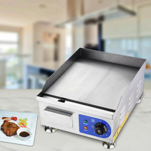 Commercial 1500w 14 Electric Countertop Griddle Stainless Steel Adjustable Te