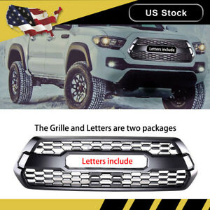 For 2016 2019 Toyota Tacoma Trd Pro Front Hood Grille Grill Bumper Matte Black