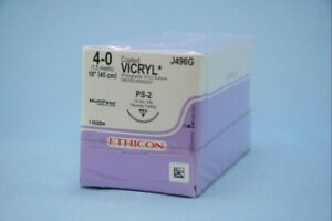 J j Ethicon J496g Suture Vicryl Ps2 4 0 18 Coated Braided Absorbable 12 bx