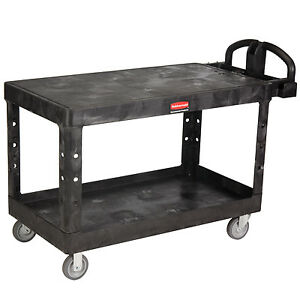 Black Rubbermaid Large Flat 2 Shelf Utility Cart 54 L X 25 1 4 W X 36 H