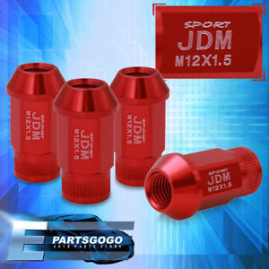 Jdm Sport 4pc M12x1 5mm Red Lug Nuts Thread Pitch Lockey Key Open Ended Vip