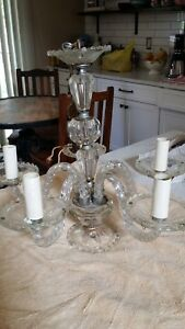 Vintage Crystal Ceiling Chandelier With 5 Arms