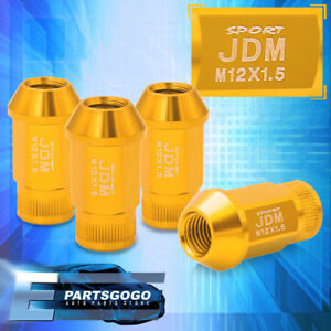 Jdm Sport 4pc M12x1 5mm Gold Lug Nuts Thread Pitch Lockey Key Open Ended Vip