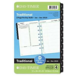 Day timer 2019 Daily Planner Refill 5 1 2 X 8 1 2 Desk Size 4 Loose Leaf Tw