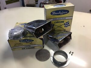 Nos Vintage Badger Chrome Air Cleaner Scoops Dual Carbs Hot Rod Ford Flathead
