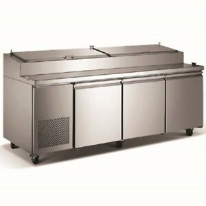 Pantin Commercial 92 Three Door Pizza Prep Table With Cabinet Refrigerator Etl