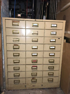 Vintage Metal File Cabinet Apothecary Jewelry Art Chest 30 Drawers 38x28x17