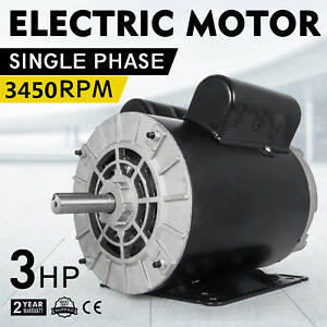 Cm03256 Electric Motor 3 Hp 1 Phase 3450rpm 5 8 Shaft Outdoors Home Compressor