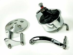 Sbc Chevy Chrome Saginaw Style Power Steering Pump W Bracket Pulley
