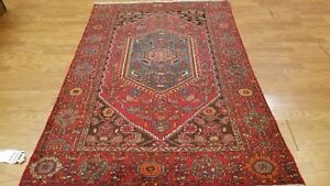 5 X 7 Geometric Antique Persian Hamedan Bijar Hand Knotted Wool Rug