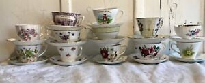 Huge Lot Vintage English Bone Chinateacups Saucers Roses Dogwood 12 Sets Pretty