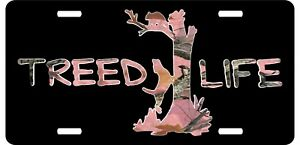Coon Hunting Dog Animal Treed Life Pink Camo Girl Car Truck Tag License Plate