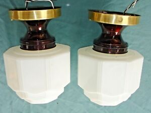 2 Antique Art Deco Celling Light S Hall Bed Kitchen Sky Scraper Shade Set 1