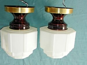 2 Antique Art Deco Celling Light S Hall Bed Kitchen Sky Scraper Shade Set 2