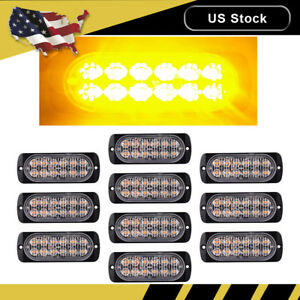 10pc Amber Car 12 Led Emergency Strobe Light Kit Bar Beacon Hazard Flash Warning
