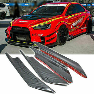 4pcs Carbon Painted Bumper Canards Splitters Lip For Mitsubishi Lancer Evo X 10