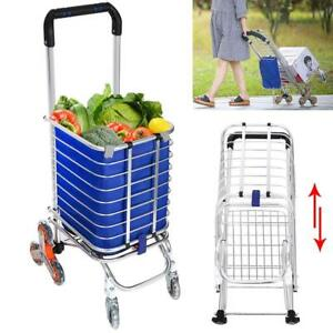 Utility Shopping Cart Collapsible Grocery Carts With Rolling Swivel Wheels New