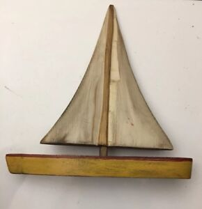 Beautiful Antique Hand Made Ship Model Of A Sailing Yacht Sd Meadow S 12 X 11