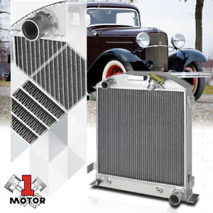 Aluminum 3 Row Performance Radiator For 32 Ford Chopped Hi boy Chevy mopar Swap