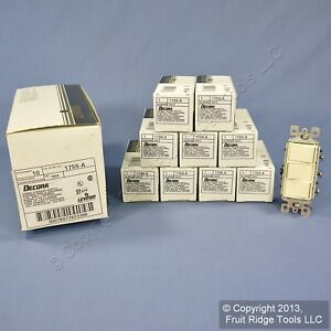 10 Leviton Almond Decora Triple Rocker Wall Light Switches Triplex 15a 1755 a