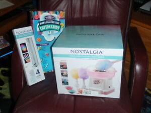 Nostalgia Cotton Candy Machine Maker Electric Kit Light Up Cones Bundle