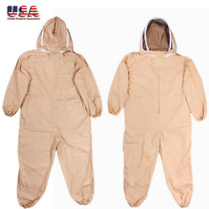Professional Full Body Beekeeping Bee Keeping Suit Veil Hood Cotton 3 Size