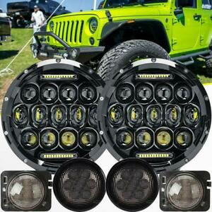 7 Led Headlight Turn Signal Front Fender Lights For Jeep Wrangler Jk 07 17