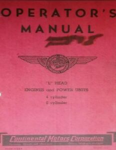 Continental L head Engine Owner Repair Manual Forklift Tractor F 226 F 162 Y 69