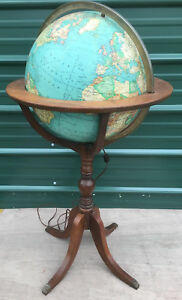 Rand Mcnally Terrestrial 16 Lighted World Globe 1976 1980 Vintage Floor Stand