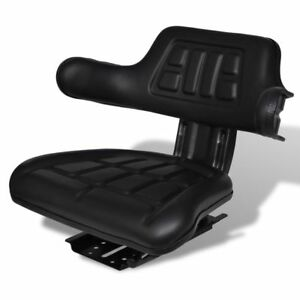 Tractor Seat Backrest Base Sliding Track Compact Mower Padded Seating Black