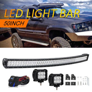 1999 2004 Jeep Grand Cherokee Wj Wg 50inch Curved Led Light Bar 4 Pods Cube
