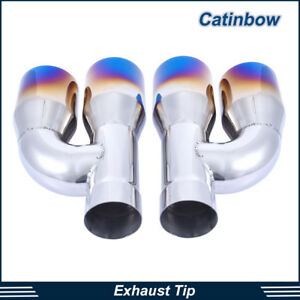 Pair Of Exhaust Tips 2 5 Inlet 3 5 Dual Outlet 10 4 Long Polished Burnt Blue