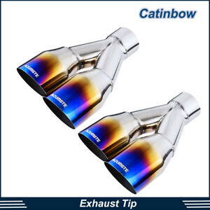 Pair Exhaust Tips 2 5 Inlet 3 5 Dual Outlet 10 5 Long Polished Burnt Blue
