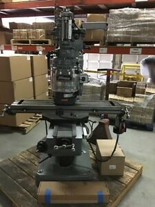Bridgeport Milling Machine With 42 table 2hp Vari Speed Head Kurt Vise Dro