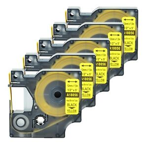 5 Heat Shrink Tube Label Ind Tape Black On Yellow 18056 For Dymo Rhino 5200 1 2