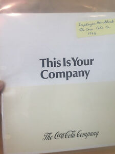 Coca Cola Co This is Your Complany Employee Handbook 1966 Robert W Woodruff