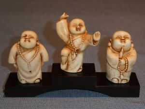 3 Rare Vintage Old Chinese Shaolin Kung Fu Buddhist Monks Figures Figurines