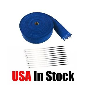 2 X 50ft Roll Blue Exhaust Wrap Manifold Header Pipe Heat Wrap Tape 10 Ties Kit