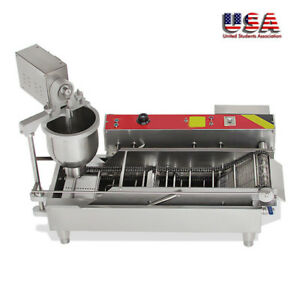 Commercial Electric Automatic Doughnut Donut Machine Maker Fryer 3 Mold New
