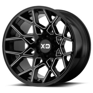 20 Inch Black Milled Wheels Rims Lifted Jeep Wrangler Jk Xd Series 20x12 Set 5