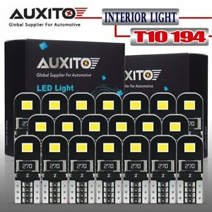 Auxito 20pcs 6000k T10 168 194 Car Interior Kit Side Marker Led Light Bulb White
