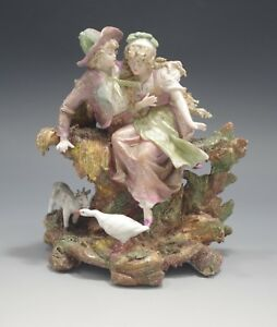 Antique French Porcelain Shepherd And Shepherdess Figurine