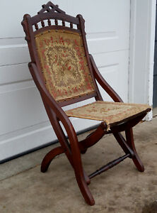 Antique Victorian Eastlake Carved Walnut Folding Carpet Tapestry Chair