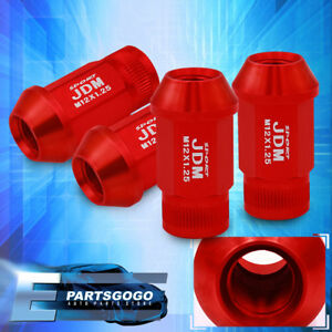Jdm Sport 4pc M12x1 25mm Pitch Thread Red Lug Nuts Open Ended Alloy Steel Set
